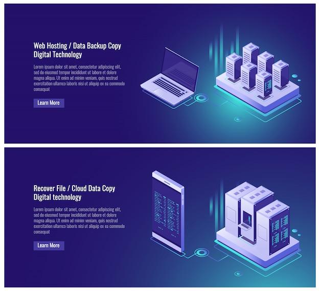 Alojamiento web, copia de seguridad de datos, concepto de recuperación de archivos, almacenamiento de datos en la nube