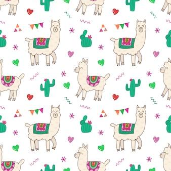Alpaca, cactus y patrones florales sin fisuras.