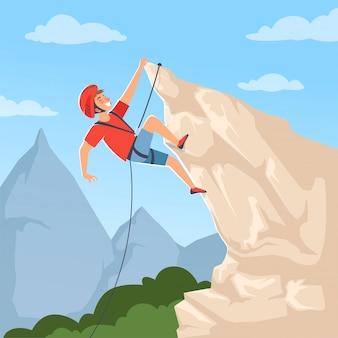 Alpinista en las colinas.