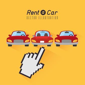 Alquile un coche de diseño, ilustración vectorial.