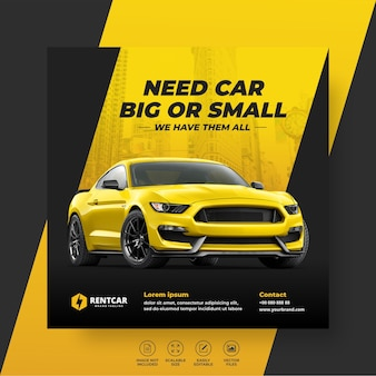 Alquiler de coches para banner de publicación de redes sociales, plantilla de promoción.