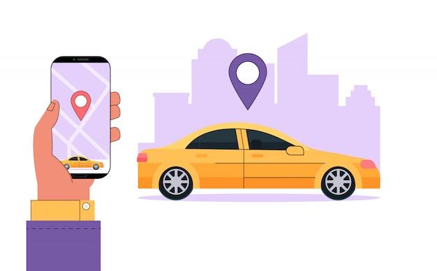 Alquiler de coches moderno o concepto de servicio de alquiler de coches. la mano sostiene el teléfono inteligente con información y una aplicación para encontrar la ubicación de un automóvil.