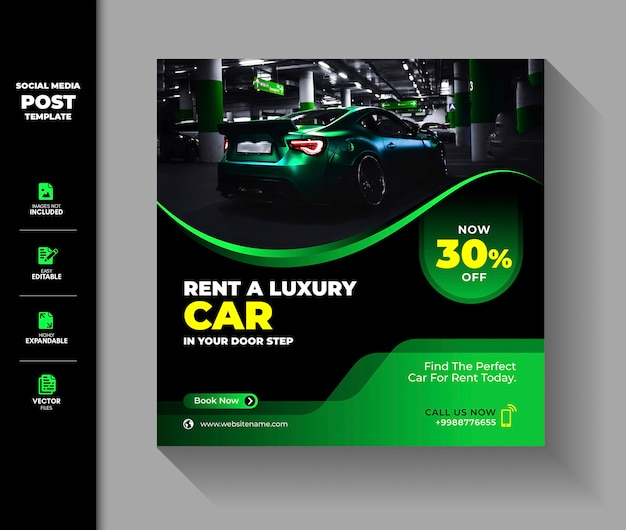 Alquiler de coches social media post square banner