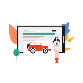 Alquiler y compra de automóviles en línea, concepto de aplicaciones de búsqueda de automóviles con personaje de mujer de dibujos animados en pantalla grande