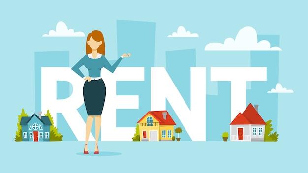 Alquiler de concepto de casa. idea de bienes raíces