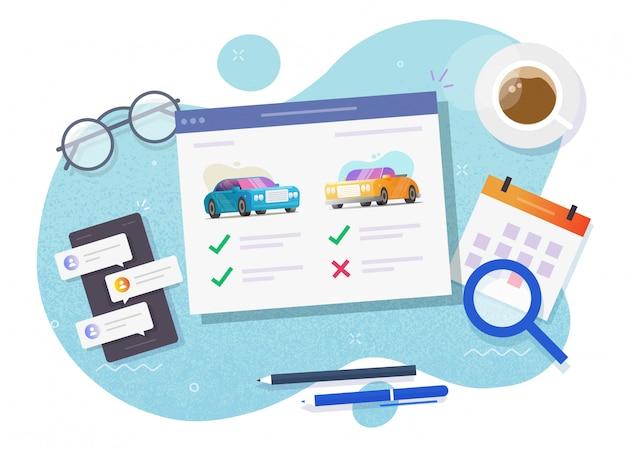 Alquiler de vehículos comparando y eligiendo características del sitio web de la tienda en línea