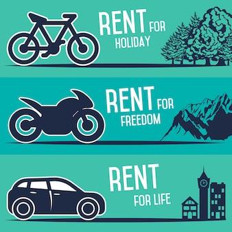 Alquiler de vehículos y otros carteles de transporte.