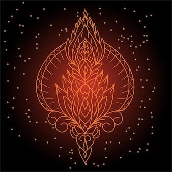 Alquimia dibujada a mano, espiritualidad, arte de loto.