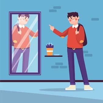 Alta autoestima con el hombre y el espejo.