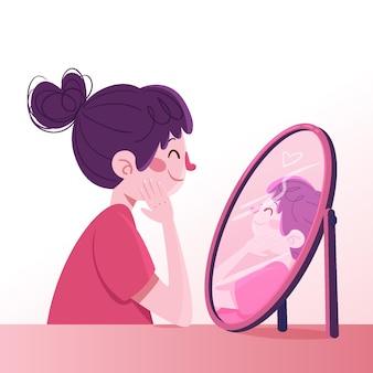 Alta autoestima con mujer y espejo.