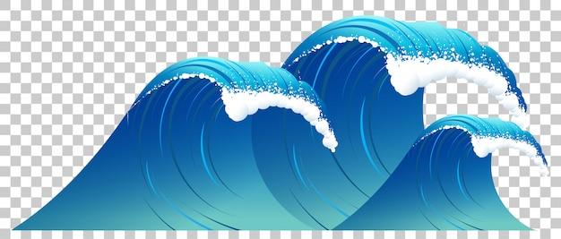Alta ola azul con espuma blanca aislada. agua clara sobre fondo transparente