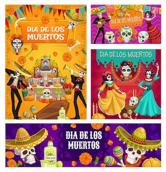Altar del día de muertos, calaveras de azúcar, esqueletos danzantes
