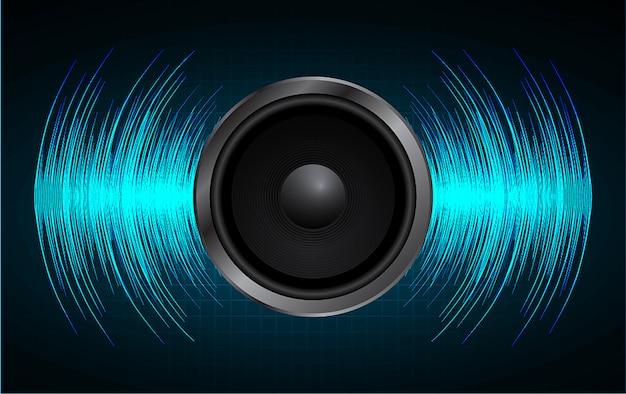 Altavoz de audio y onda de sonido.