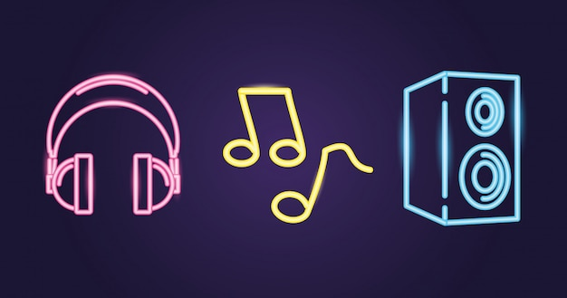 Altavoz, auriculares y nota musical con estilo neón sobre púrpura
