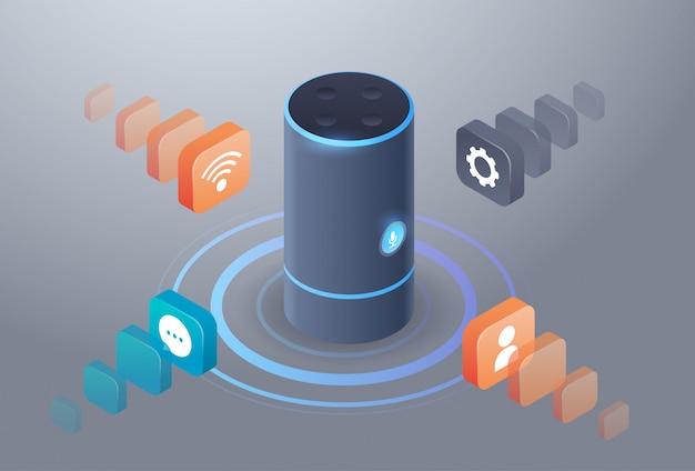 Altavoz inteligente inteligente reconocimiento de voz asistentes digitales activados concepto de informe de comando automatizado isométrico 3d