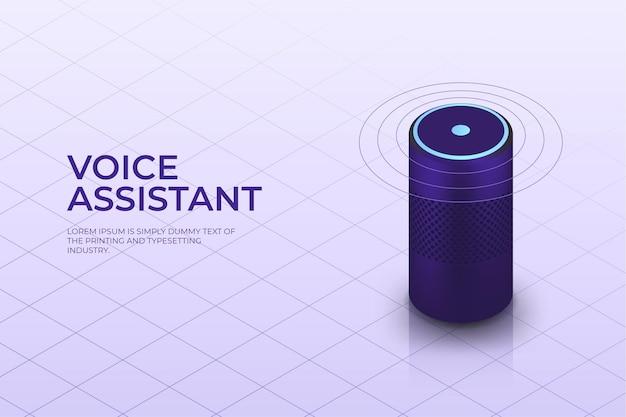 Altavoz inteligente isométrico con asistente de voz