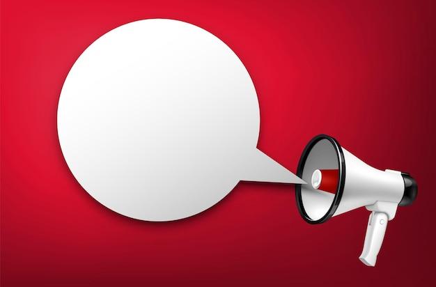 Altavoz y megáfono con anuncio sobre fondo rojo.