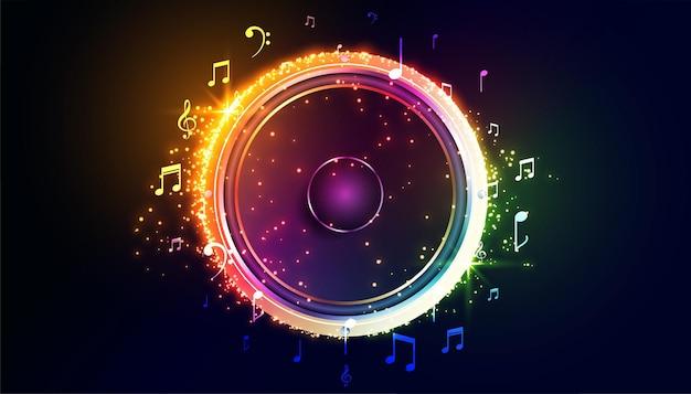 Altavoz de música colorida con notas de sonido