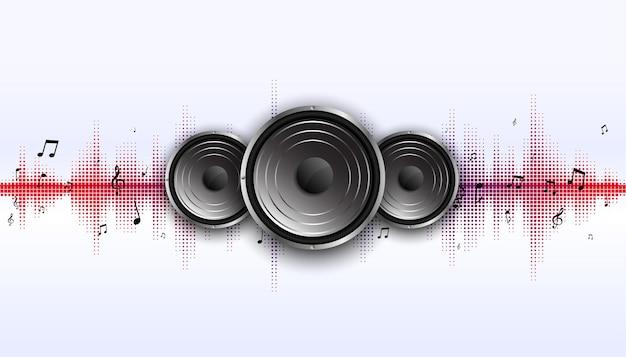 Altavoz de música con fondo de frecuencia de ecualizador de ondas