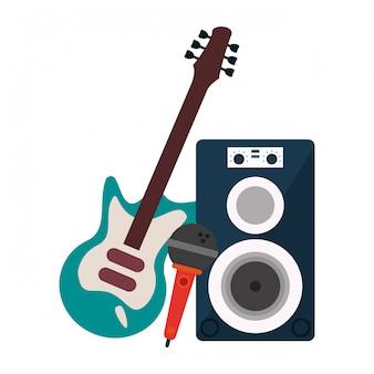 Altavoz musical con micrófono y guitarra eléctrica.