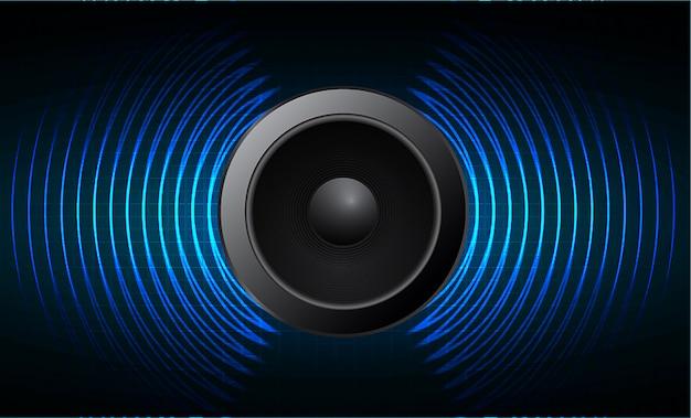 Altavoz y ondas de sonido oscilantes de luz azul oscuro