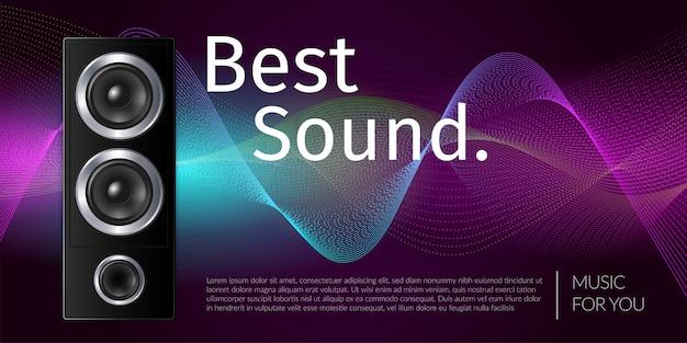 Altavoz realista en equipo de sonido de caja negra en la ilustración de fondo ondulado de color