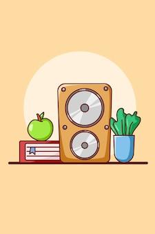 Altavoz reproducir música con ilustración de dibujos animados de icono de libro