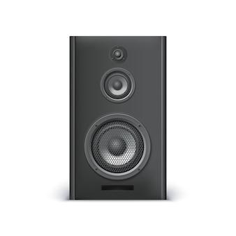 Altavoz de sonido negro sobre fondo blanco. ilustración vectorial para su diseño.