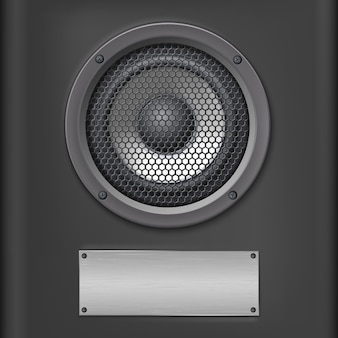 Altavoz de sonido con placa de metal sobre fondo oscuro