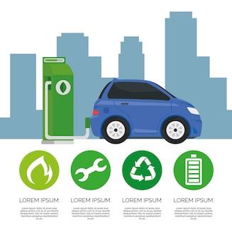 Alternativa de ecología de coche eléctrico en estación de carga y diseño de iconos de conjunto