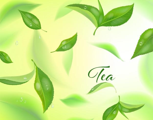 Alto fondo detallado con hojas de té verde en movimiento. hojas de té borrosas.