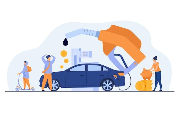 Alto precio por concepto de combustible para automóviles. la gente gasta dinero en gasolina, cambia de coche por scooter, ahorra dinero. ilustración de vector plano para economía, reabastecimiento de combustible, concepto de transporte urbano