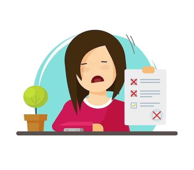 Alumno de carácter infeliz con formulario de examen con evaluación fallida