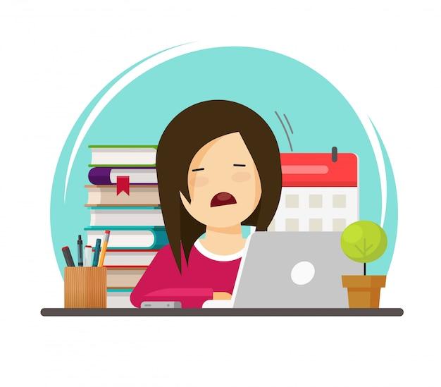Alumno triste o estudiante persona cansada estudio de ilustración de aprendizaje o personaje de mujer o niña de dibujos animados plana estresada mientras se educa o trabaja con imagen de cara agotada y deprimida