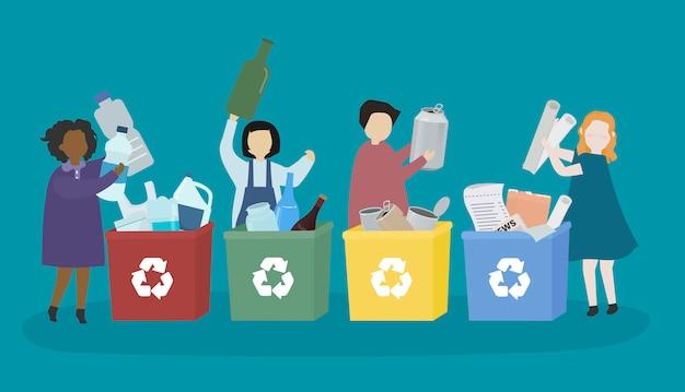 Alumnos aprendiendo sobre diversos materiales reciclables.