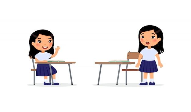 Alumnos en la ilustración de vector plano de lección