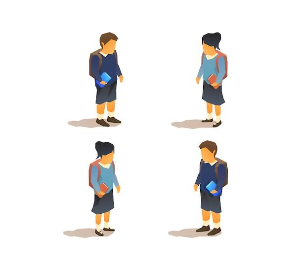 Alumnos jóvenes en uniformes escolares
