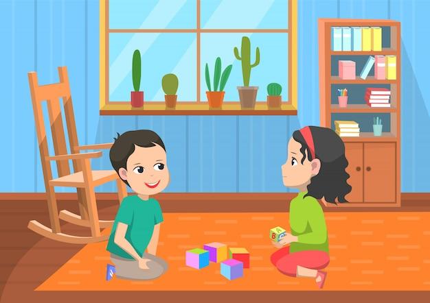 Alumnos jugando juguetes, vector de escuela primaria