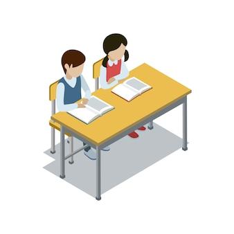Los alumnos se sientan en la ilustración isométrica del escritorio