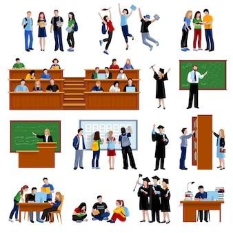 Alumnos de la universidad en biblioteca en auditorio.