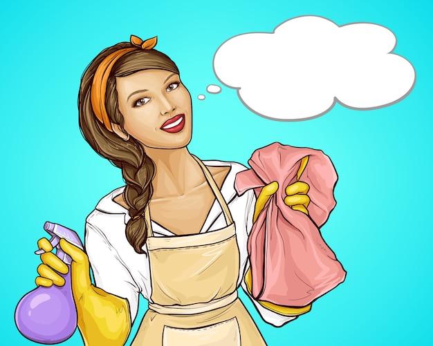 Ama de casa bonita que anuncia una caricatura de servicio de limpieza