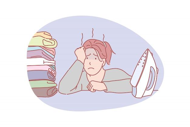 Ama de casa, carga de trabajo, ilustración de planchado