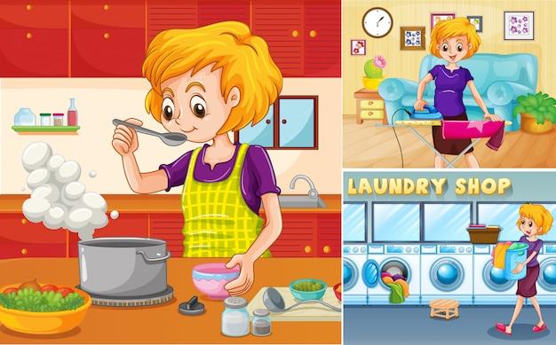 Ama de casa haciendo diferentes tareas en la casa