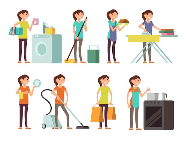 Ama de casa de la historieta en conjunto del vector de la actividad del quehacer doméstico. mujer feliz que realiza el hogar