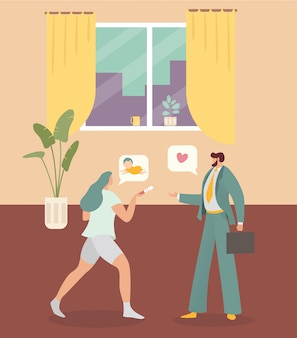 Ama de casa madre personaje mujer embarazo esposa hablar marido bebé ilustración. joven empresario convertido en padre.