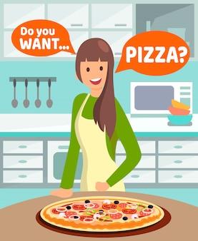 Ama de casa ofreciendo cena ilustración vectorial