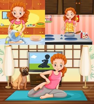 Ama de casa realizando diferentes actividades.