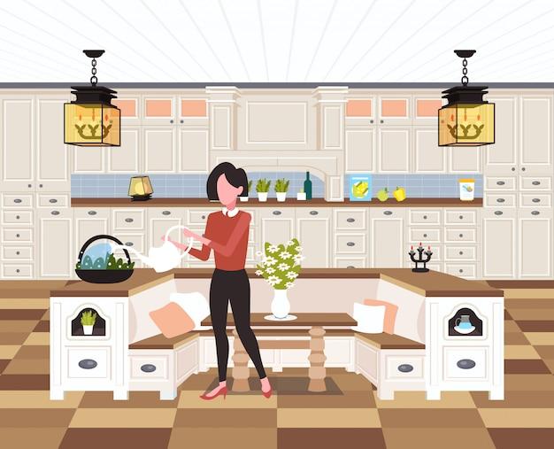 Ama de casa vertiendo agua en maceta doméstica mujer sosteniendo la regadera haciendo tareas domésticas concepto cocina moderna interior femenino personaje de caricatura horizontal de longitud completa