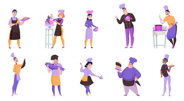 Amables cocineros masculinos y femeninos que sostienen varios platos aislados en blanco