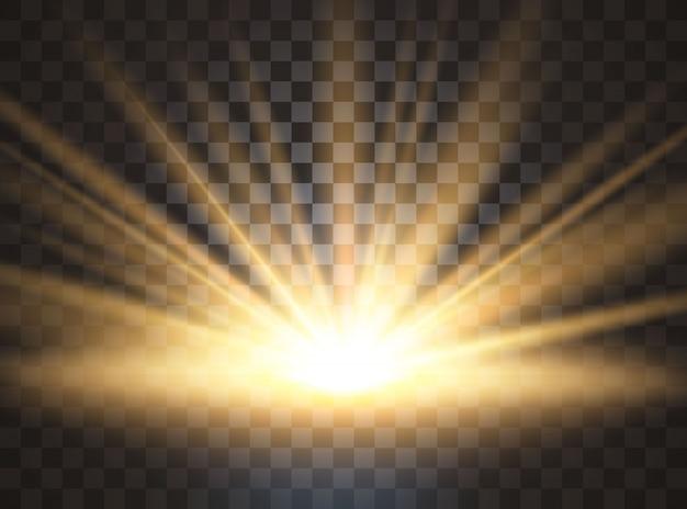 Amanecer, amanecer. luz solar transparente. efecto de luz especial de destello de lente